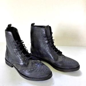 Free People Black leather & suede oxford boots
